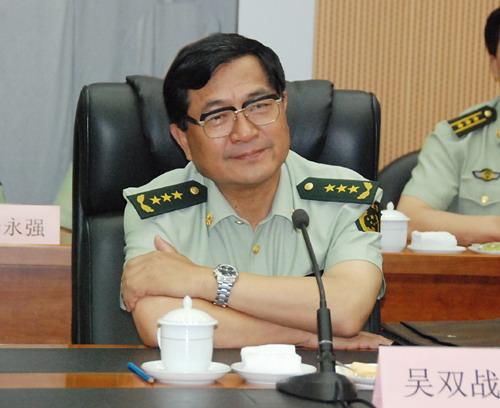 武警部队司令员吴双战-陈雷等水利部领导与武警部队负责同志座谈 衷图片